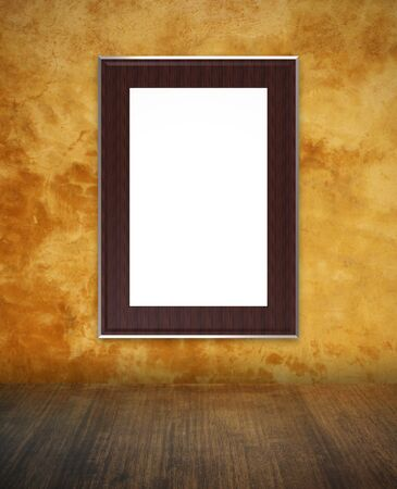 yellow concrete wall texture with wood frame photo