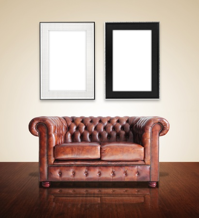 Classic Brown leather sofa with frame photo