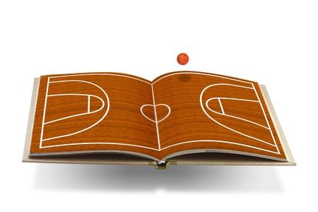canestro basket: Libro aperto con campo da basket Archivio Fotografico
