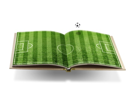 Open  book with  green grass soccer  stadium photo