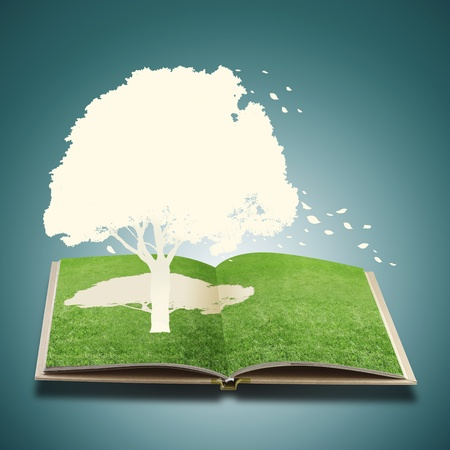 Paper cut of tree on grass book  Stock Photo - 13186867