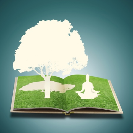 meditation help: Paper cut of girl doing yoga on old book grass