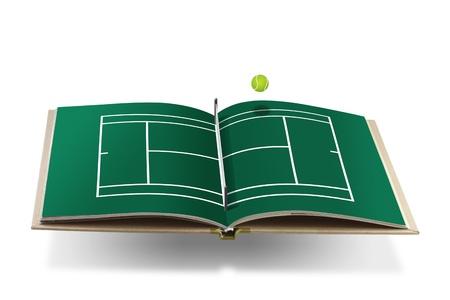 tennis ball: Open  book with  tennis court