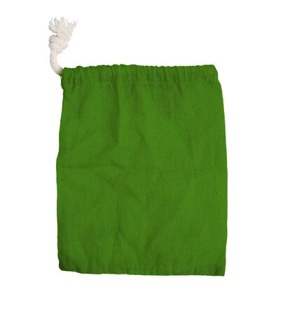 fabric bag: green fabric bag on white isolated background
