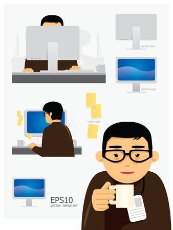 man on cell phone: Vector personajes oficina de trabajo conjunto