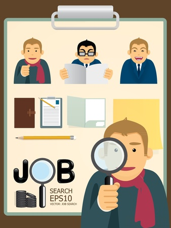 paper case: Vector characters job search set