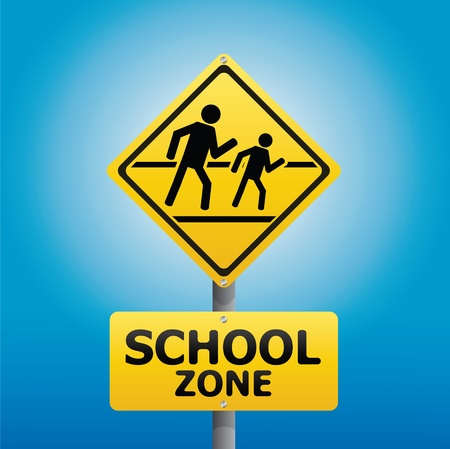 dangerous construction: TRAFFIC Sign School warning