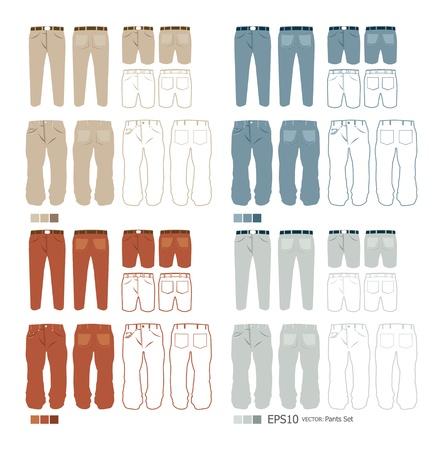 Pantalones de moda conjunto de vectores