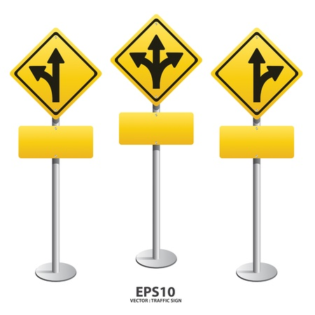 turn yellow: vector Signs straight, turn left, turn right
