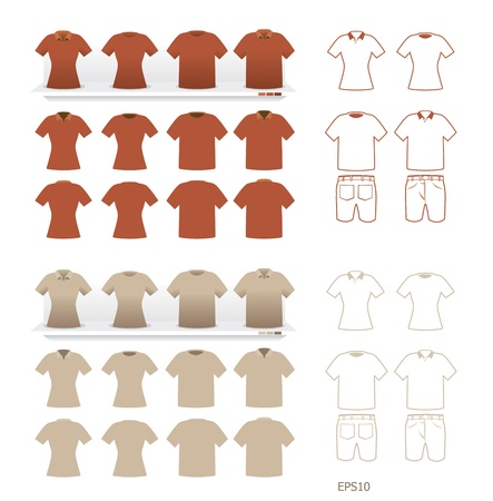 tshirt fashion set vector Vector