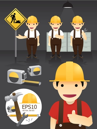 mind set: Vector characters worker set Illustration