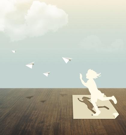 paper cut: Papier knippen van kinderen op houten tafel met hemel