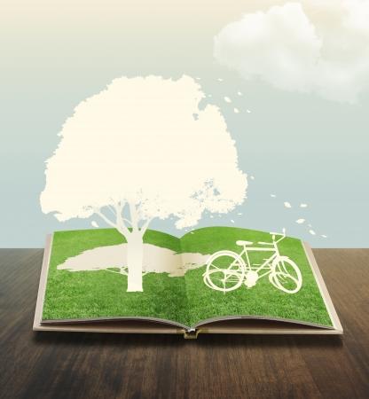 arbol de problemas: Documento de corte de la bicicleta en el libro de la hierba