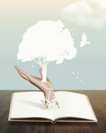 teknik: bok med papper skära rädda världen koncept Stockfoto