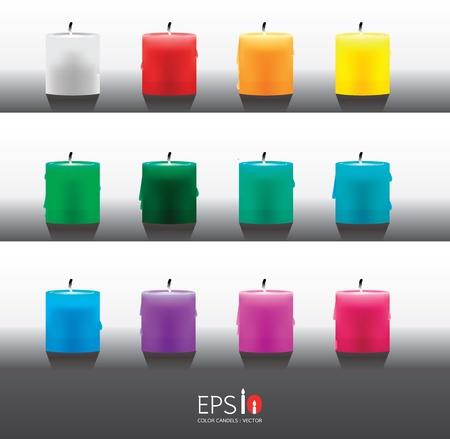 luz de velas: candel de color vectorial