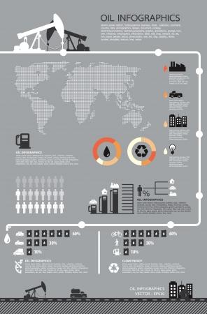 mineralien: Set mit Infografiken Elemente, �l Icons, Vektor Illustration