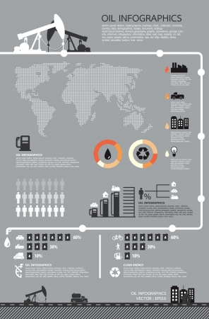 information graphics: Set of infographics elements, Oil icons ,vector