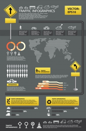 infographic vector traffic set Vector
