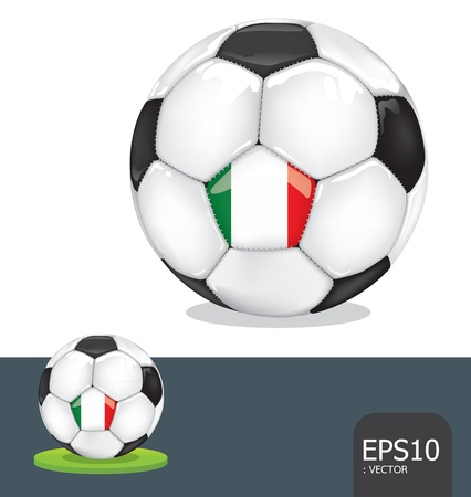 soccer ball  italy euro flag Vector