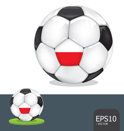 soccer ball poland euro flag Vector
