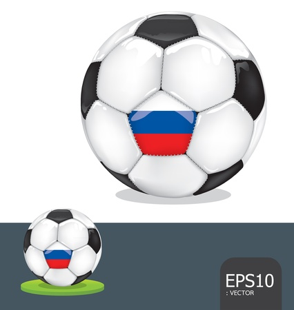 soccer ball  russia euro flag Vector