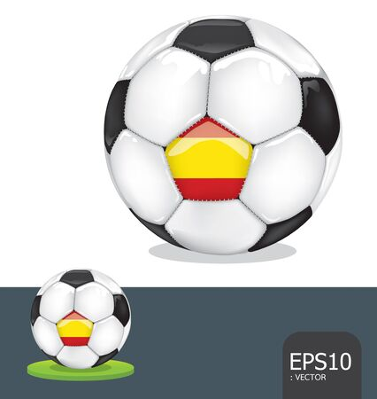 soccer ball   spain euro flag Vector