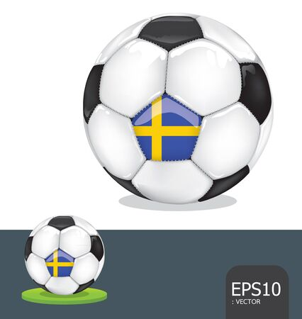 soccer ball  sweden euro flag Vector