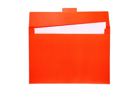 Open red file folder with white paper inside   photo