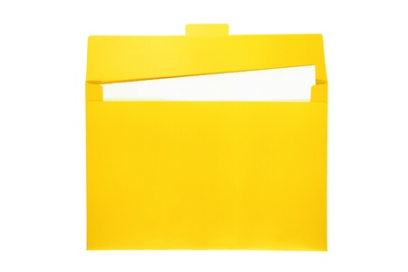 Open yellow file folder with white paper inside   photo
