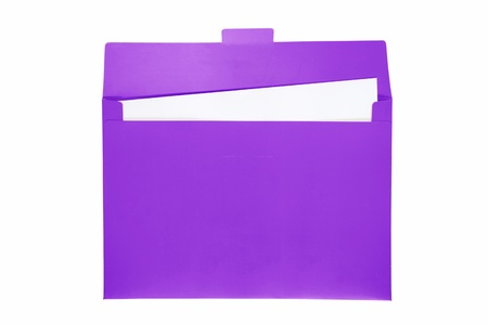 Open purple file folder with white paper inside   photo