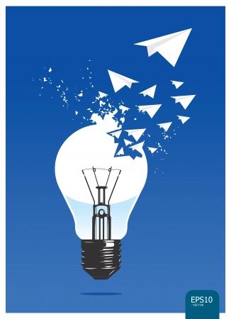 innovacion: luz del concepto de aviones de papel
