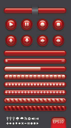button web classic  color glass red color style Vector
