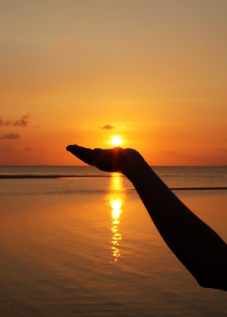 close up woman hand holding sun in hand   photo
