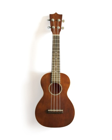 acoustic ukulele: ukulele on white isolated
