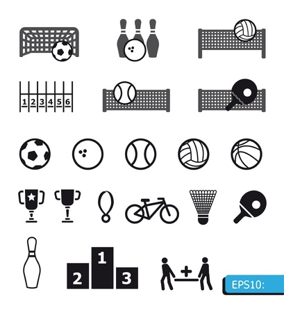 sport leisure: icons sports on black buttons Illustration