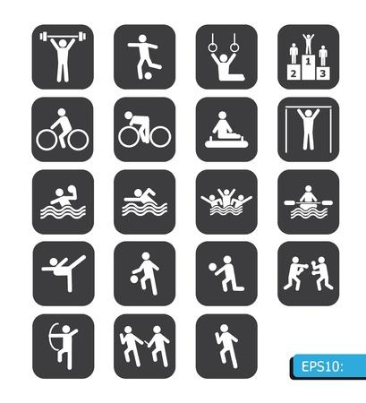 piktogram: sportowych ikon na czarnym przycisku