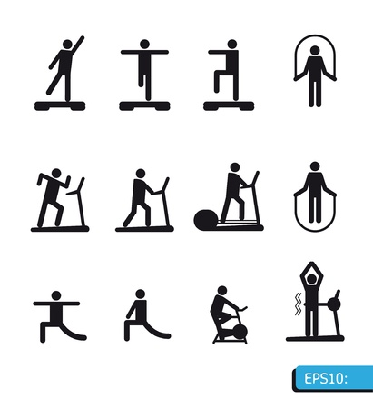 stretching exercise: Iconos Gimnasio set vector Vectores