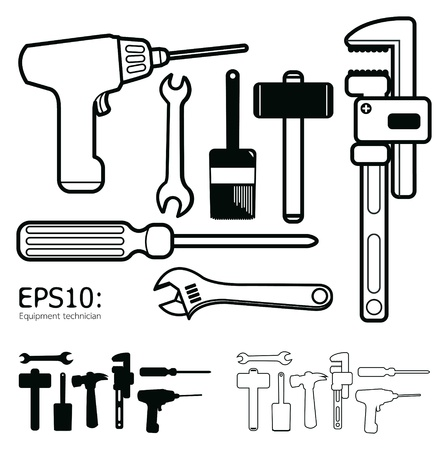 labor strong: tools icon set vector