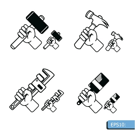 labor strong: Hand tools icon set vector