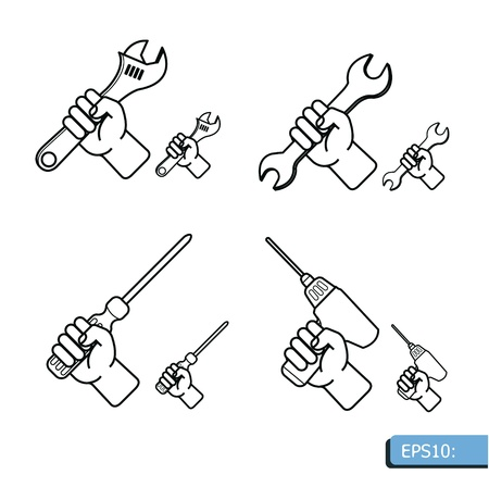 Hand tools icon set vector white background Vector