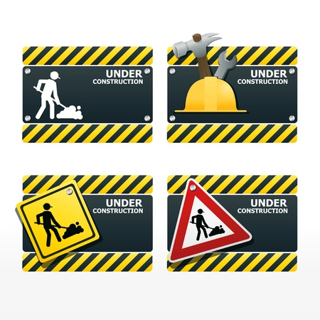 traffic pole: beware traffic sign under construction vector set