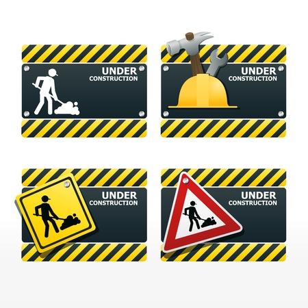 warning notice: beware traffic sign under construction vector set
