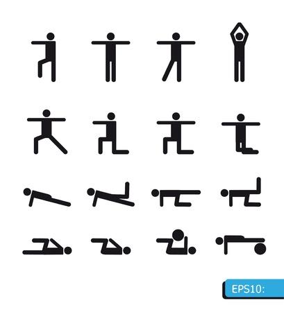 yoga icons set Vector