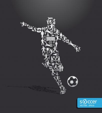 levantamiento de pesas: Iconos de los deportes de f�tbol concepto Vectores