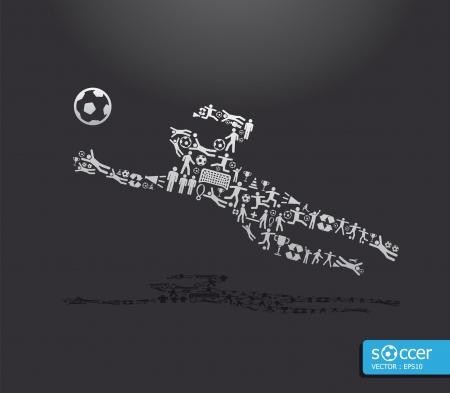 portero: Iconos de los deportes de fútbol concepto Vectores