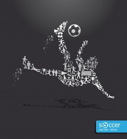 sparare: Icone di concetto di sport calcio sparare Vettoriali