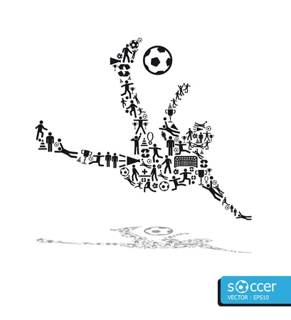 icons sports concept soccer shoot Vector