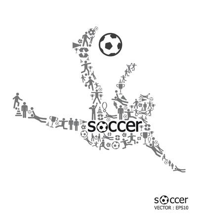 arquero futbol: Iconos de los deportes de f�tbol concepto sobre fondo blanco Vectores