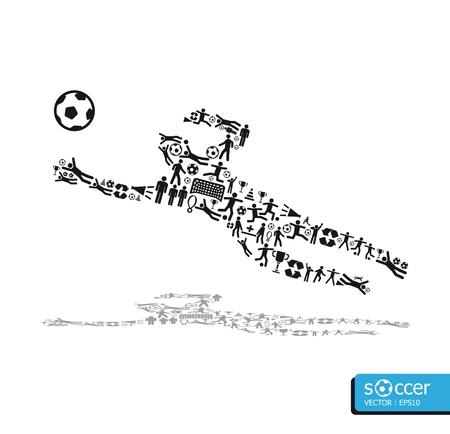 골키퍼: 흰색 배경에 아이콘 스포츠 개념 축구