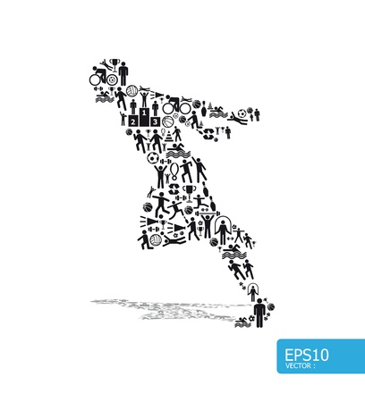 levantamiento de pesas: Iconos de deportes concepto